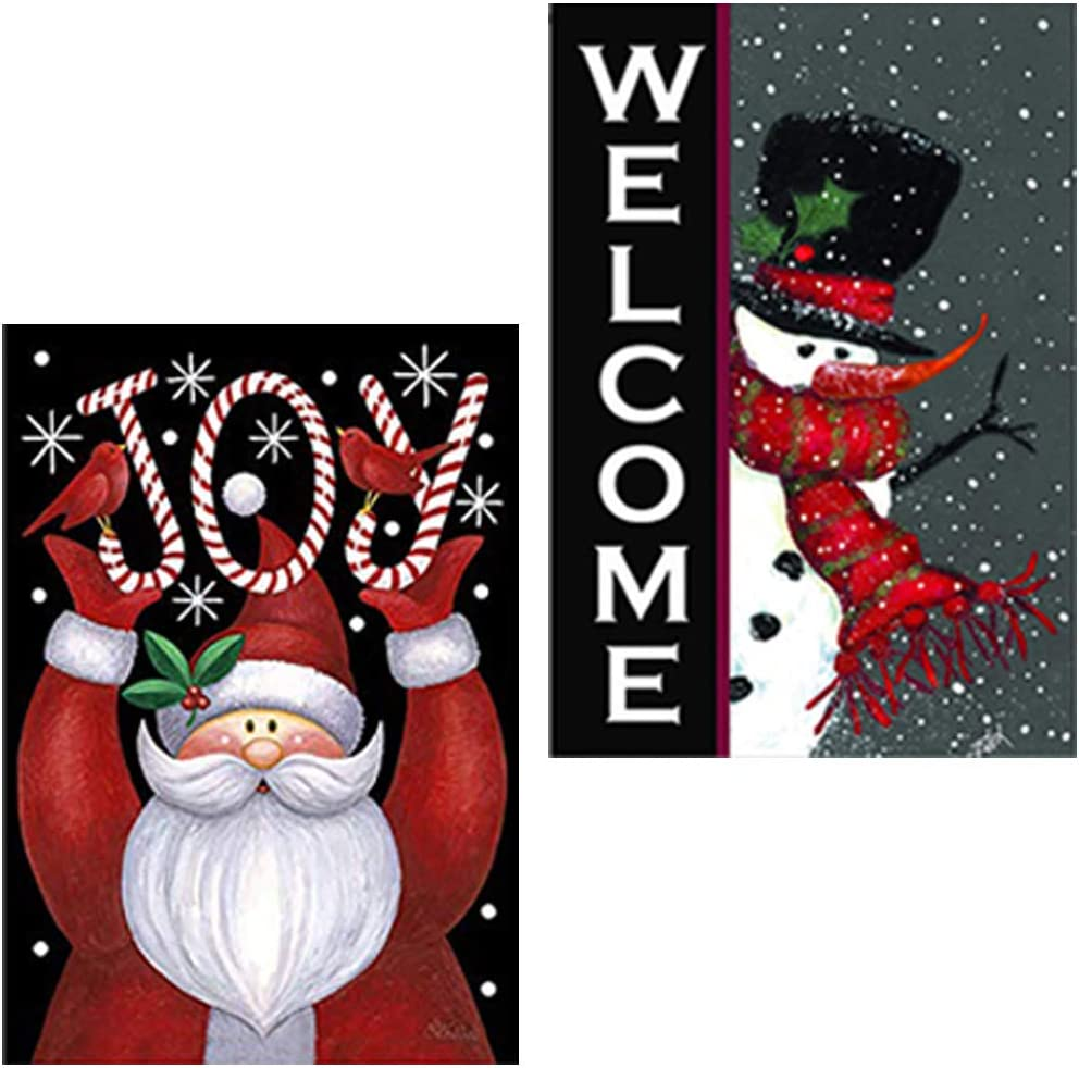 BINTECH Merry Christmas Garden Flag with Clips Stoppers(2Pack 12 x 18 Inch), Snowman Welcome and Santa Merry Christmas, Vertical Double-Sided Christmas Yard Flags for Home Front Door Yard Lawn