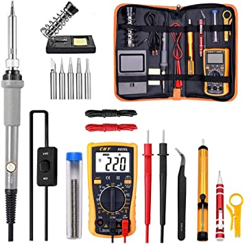 60W Soldering Iron Kit Adjustable Temperature Welding Tool Digital Multimeter