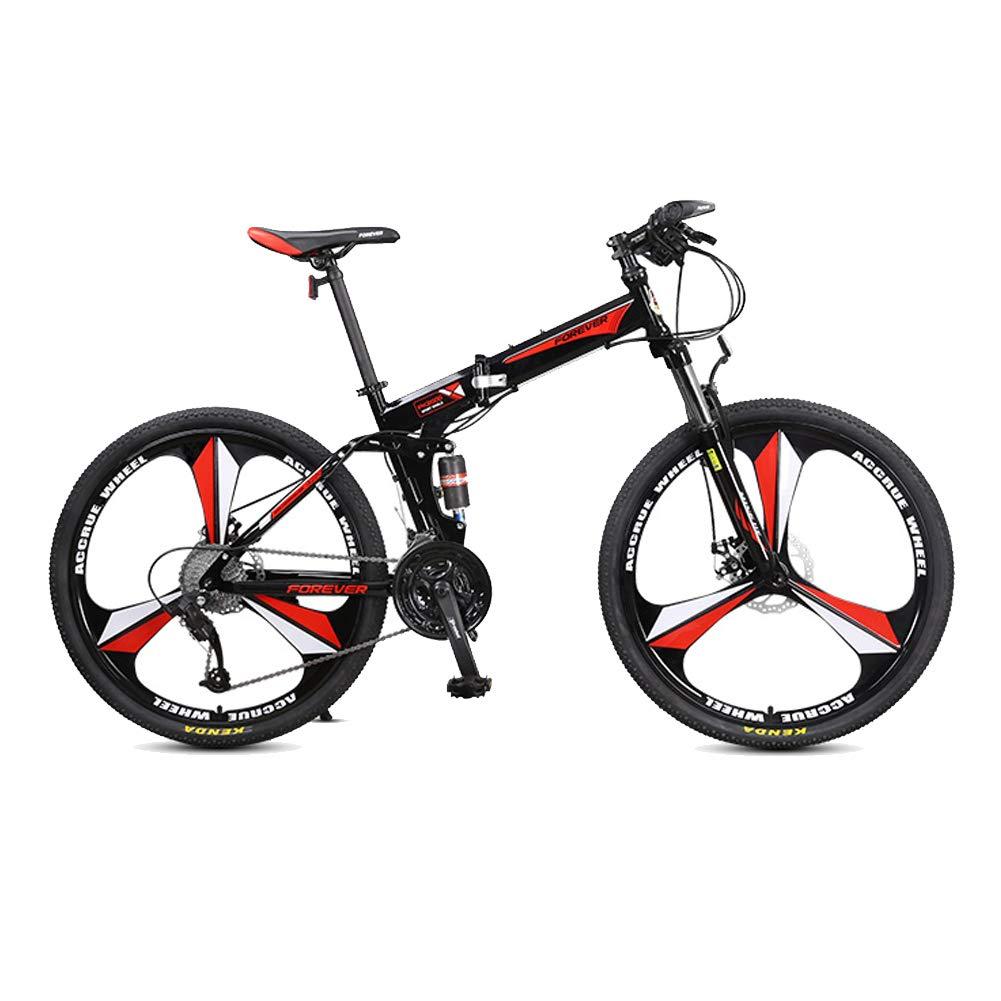LETFF Bicicleta Plegable para Adultos De 26 Pulgadas, Amortiguadores Dobles De 27 Velocidades para Hombres Y Mujeres Bicicleta De Montaña Plegable,Red: ...
