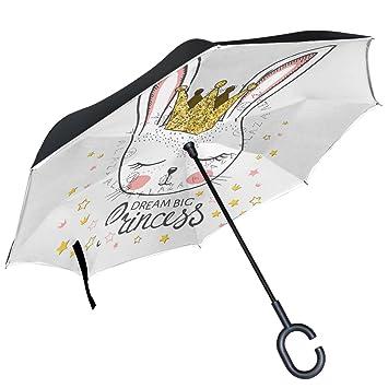 ALAZA conejo chica dorado con purpurina corona Dream Big princesa paraguas invertido doble capa resistente al