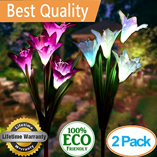 ights Outdoor,2 Pack Solar Powered Lights with 8 Lily Flower, Multi-Color Changing LED Solar Landscape Lighting Light For Decorating The Path, Yard, Lawn,Patio (White and Purple) ()