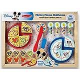 Melissa & Doug Mickey Mouse Wooden Pizza and Birthday Cake Set (32 pcs) - Play Food
