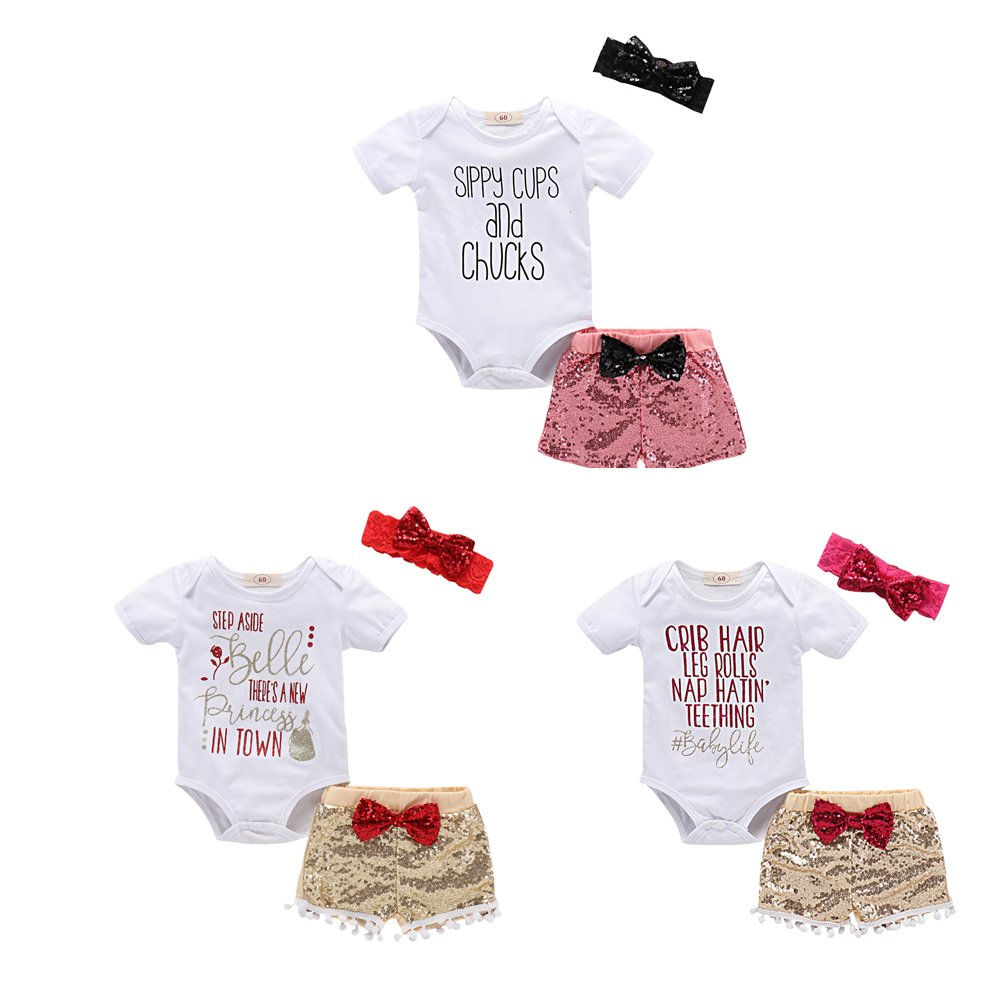 4a20293c2a6f Baby Girls Boys Love Bodysuits Romper Outfit+Sequins Pants Set  Headband(80CM