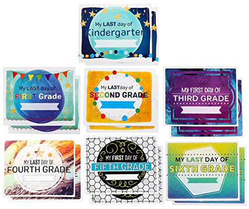 First and Last Day of School Signs - 14-Pack Photo-Booth Prop Signs for Boys and Girls from Kindergarten to Sixth Grade, 350 GSM Card-Stock Paper, 8 x 10 Inches ()