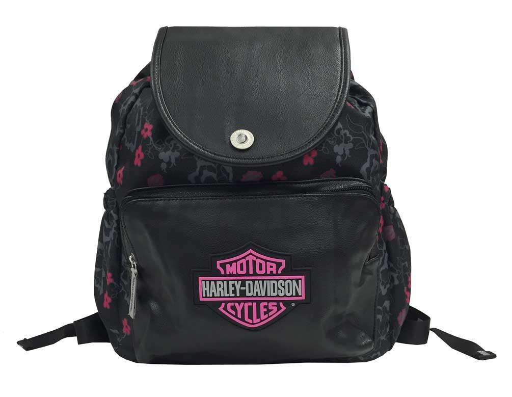 Harley-Davidson Girls Bar /& Shield Cinch Top Flowered Backpack Black 7130515 Harley-Davidson Girls/' Bar /& Shield Cinch Top Flowered Backpack SGI