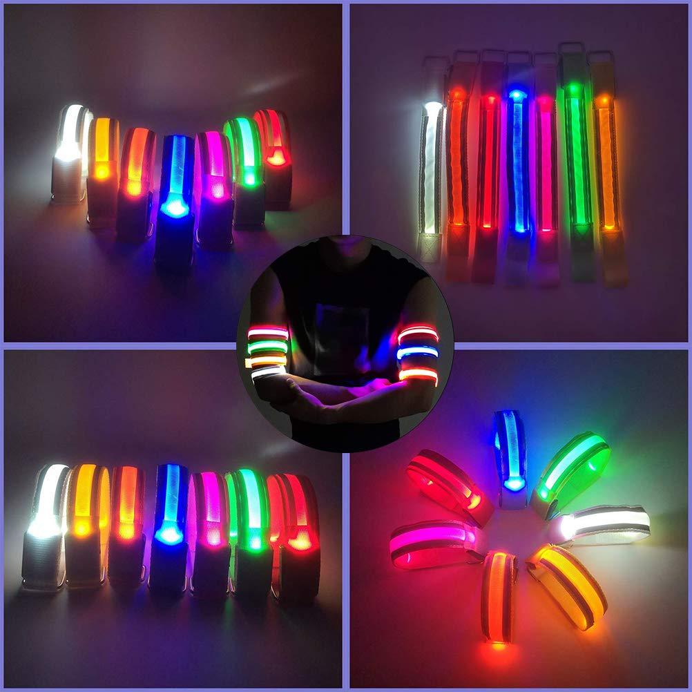 Suszian Brazalete LED 2 Piezas Brazales LED Que Brillan en la Oscuridad Brazalete Reflectante de Seguridad Recargable USB para Correr Ciclismo Ejercicios Correr de Noche