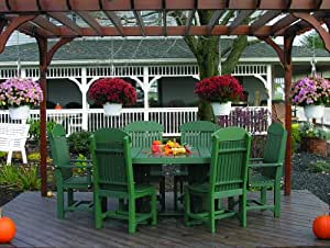 Outdoor Polywood 4' x 6' Oval Table + 2 CAPTAIN CHAIRS + 4 REGULAR CHAIRS - *YELLOW/BLACK* Color