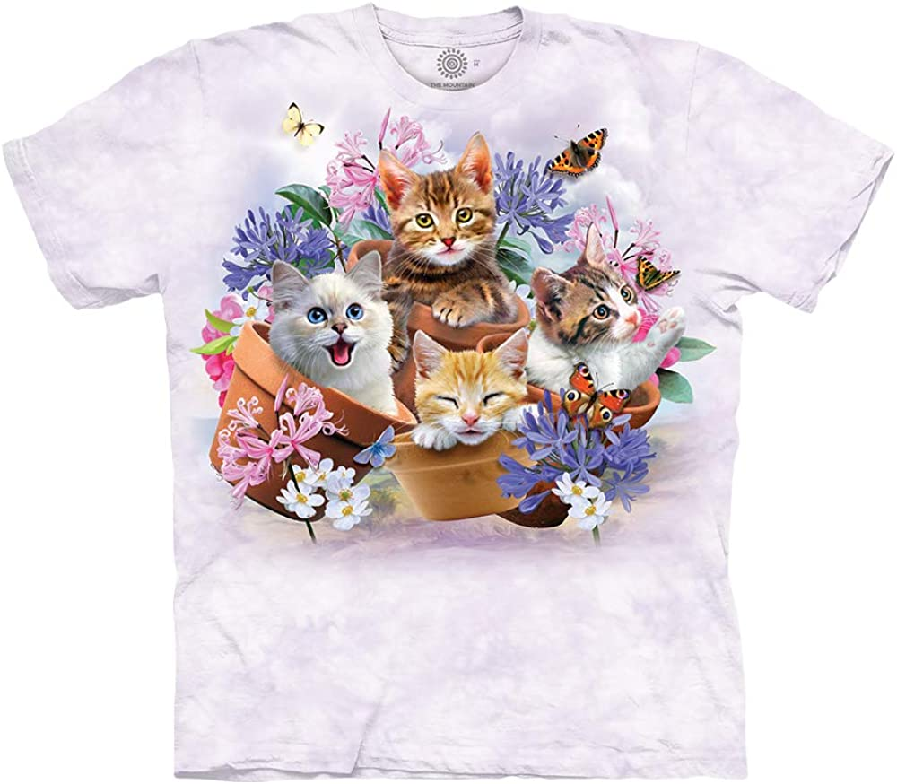 The Mountain Cats in Plant Pots 100% Cotton Unisex T-Shirt - Garden Wonders - Purple