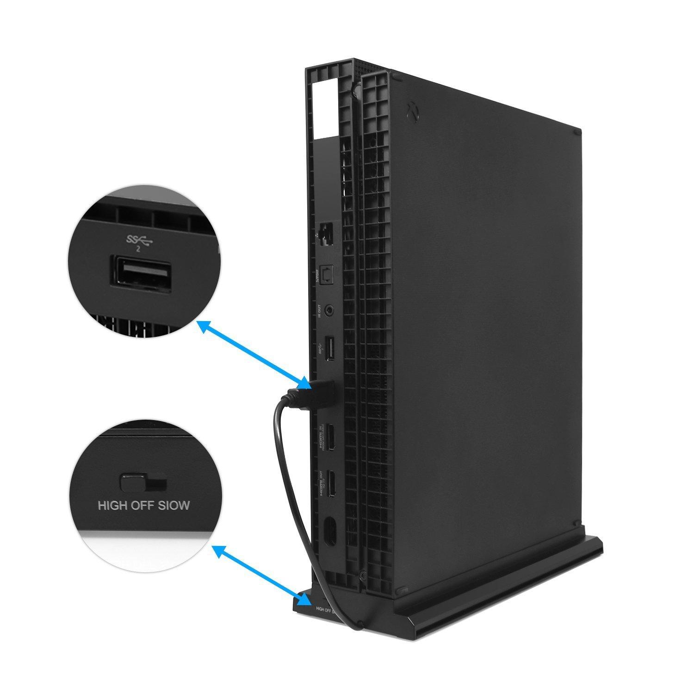 LeSB 3 en 1 Support pour Xbox One X Support Ventilateur de Refroidissement et Vertical avec Pieds antid/érapants et 3 Ports USB HUB pour Console Contr/ôleur Xbox One X Coolling Fan