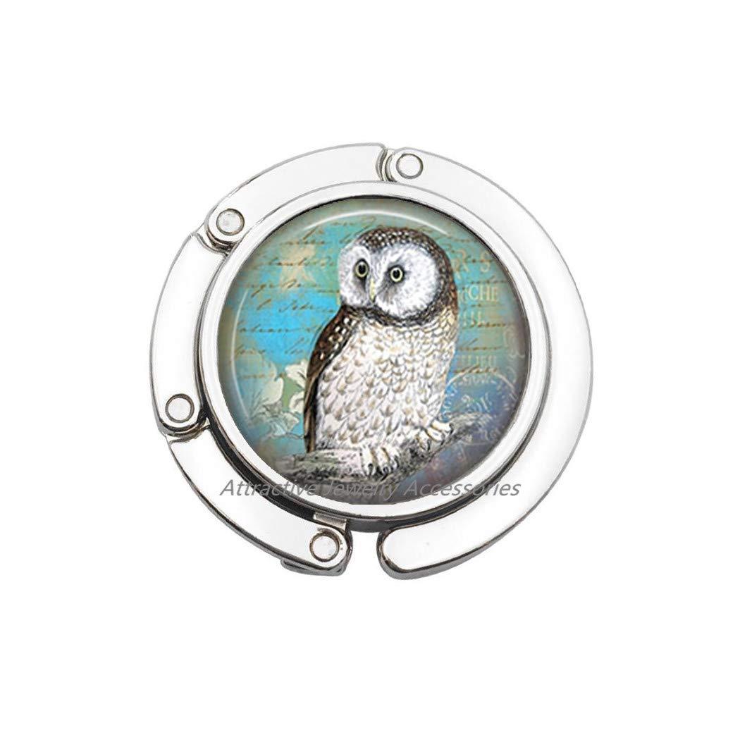 Q2 Owl Jewelry Bag Hook Wearable Art Owl Purse Hook Teal Owl Bag Hook Charm,Owl Bag Hook,Charm Bag Hook,Owl Jewellery,QK185