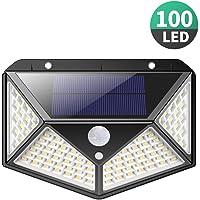 Luz Solar Exterior, iPosible [Versión Actualizada] 100 LED Foco Solar con Sensor de Movimiento Gran Ángulo 270º Impermeable Inalámbrico Lámpara Solar 3 Modos Inteligentes para Jardín, Garaje