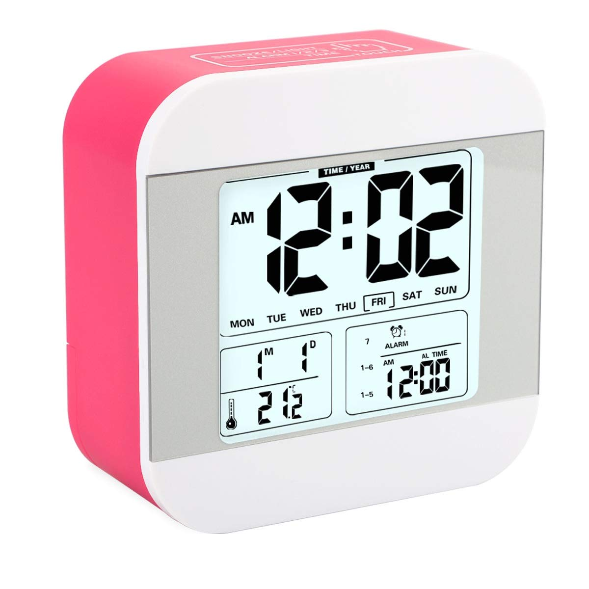 Aitey Alarm Clock for Kids, Talking Alarm Clock with Large Digital Display, 3 Alarms, 7 Rings, Snooze, Optional Weekday Mode and Low Light Sensor Technology for Bedrooms and Office Desk (Red)