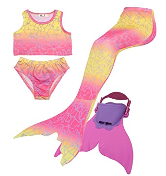 a031b20b9c Betrender Girls Mermaid Tails for Swimming, Mermaid Tail Swimsuit with  Monofin (HM,110,106 Pink): Amazon.co.uk: Clothing