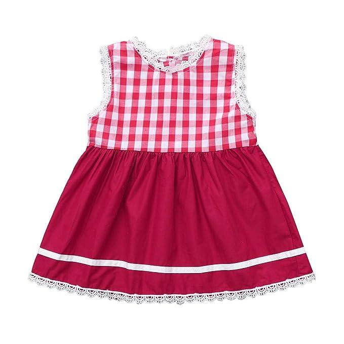 Sayla Ropa Bebe NiñA NiñO Verano Camisetas Conjuntos Moda Chica Vestido Encaje con Estampado Cuadros Sin Mangas Bebé NiñA: Amazon.es: Ropa y accesorios