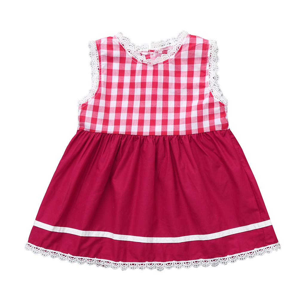 Diufon Toddler Girl Plaid Striped Lace Sleeveless Vest Dress Simple Cute Princess Dress (2-3 Years, Red)