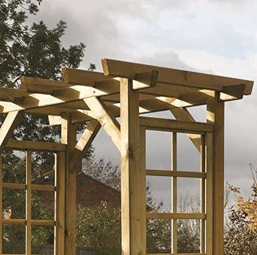 Arco de jardín de madera al aire libre pérgola Arbour techo rosa ...