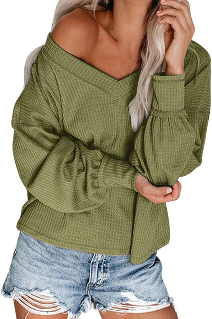 Womens Off Shoulder Waffle Knit Blouse Baggy Lantern Long Sleeve Tunic Tops Solid Color Fitting Warm Autumn Basic T Shirt