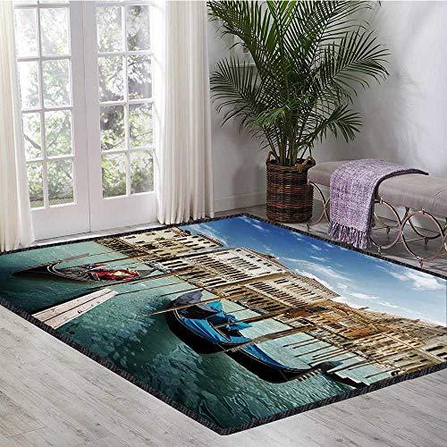 (Italian, Kids Carpet Playmat Rug, Gondolas in The Venetian Adriatic Lagoon Historical Venezia Photo, Bath Mats for Floors 5.8x8.5 Ft Blue Sand Brown Almond Green)