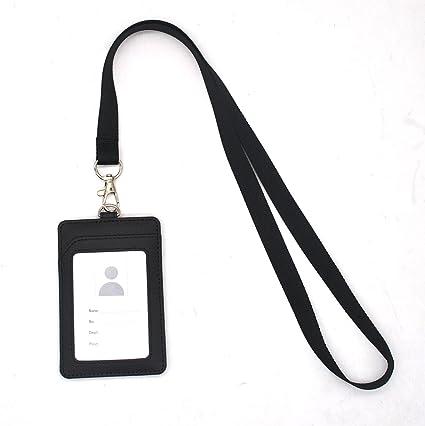 Mannli 3 Pezzi Porta Badge Clip Verticale PU Cuoio a Due Lati con Cordino del Collo Staccabile Portabadge Collo