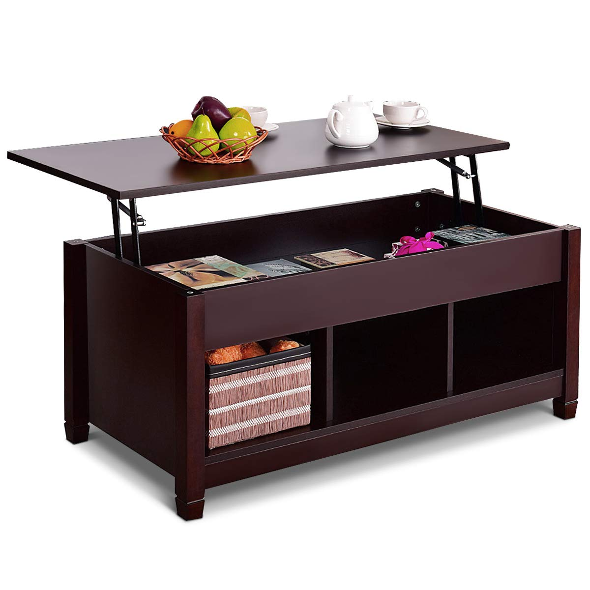 Tangkula coffee table lift top wood home living room modern lift top storage coffee table w hidden compartment lift tabletop furniture brown with lower
