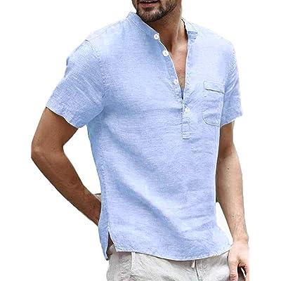 Taoliyuan Mens Linen Henley Shirts Summer Short Sleeve Banded Collar V Neck Beach T Shirt Blouse with Pocket at Men's Clothing store