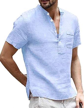 Camisa de lino para hombre Henley camisa de manga corta verano regular Fit con bolsillo ocio camisa pescador Tops: Amazon.es: Ropa y accesorios
