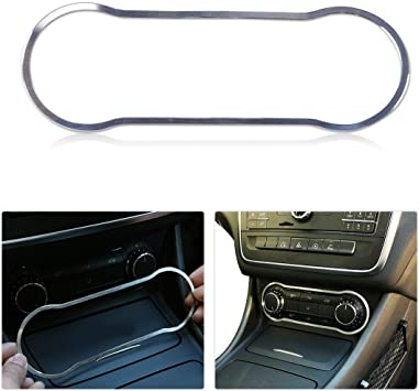 YUECHI for Mercedes Benz CLA GLA Class W117 X156 2014-2017 ABS Chrome Dashboard Air Conditioning Vent Trim Stickers Accessories