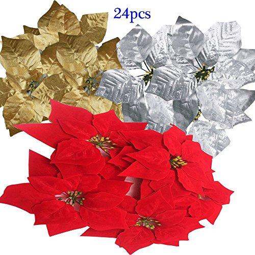 24pcs Artificial Red Poinsettias Christmas Flowers Ornaments 8