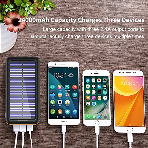 Solar Charger Kedron 24000mAh moveable Charger electric power Bank utilizing improve knowledge Port and 3 USB output External Battery Pack for iPhone iPad Samsung Galaxy Android devices and numerous other devices Orange External Battery Packs