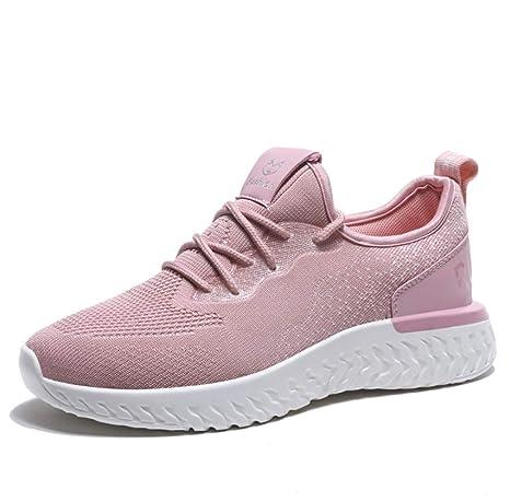 CXIGUA Zapatilla De Deporte Clunky Zapatillas Rosa Silvestre Mujer Zapatillas Voladoras Calzado Casual Tejido Transpirable Ligero