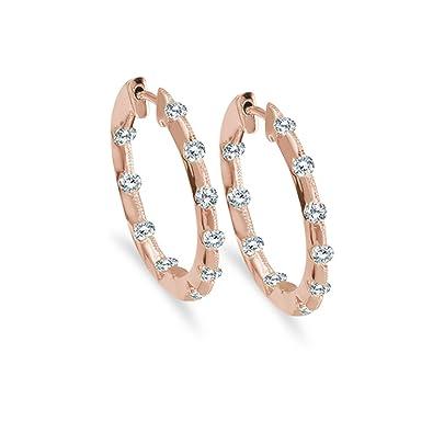065fd044d Amazon.com: 14k Rose Gold .50 Carat Diamond Inside Outside Hoop Earrings:  Jewelry