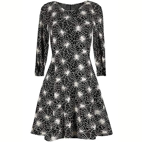 Ladies Web Party X023 Halloween Print Women Dresses Comfortable Dress LIYIZO Spider for Bat waAqUvfxY