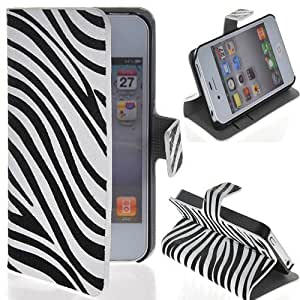 Semoss Funda de Cuero cebra Flip Carcasa Cover con práctica función de soporte /titular tarjeta para Apple iPhone 4 4S