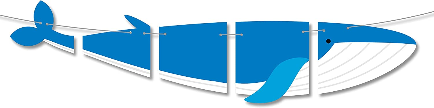Whale Banner Happy Birthday Theme Party Decor Picks for Ocean Beach Baby Shower Decorations Supplies