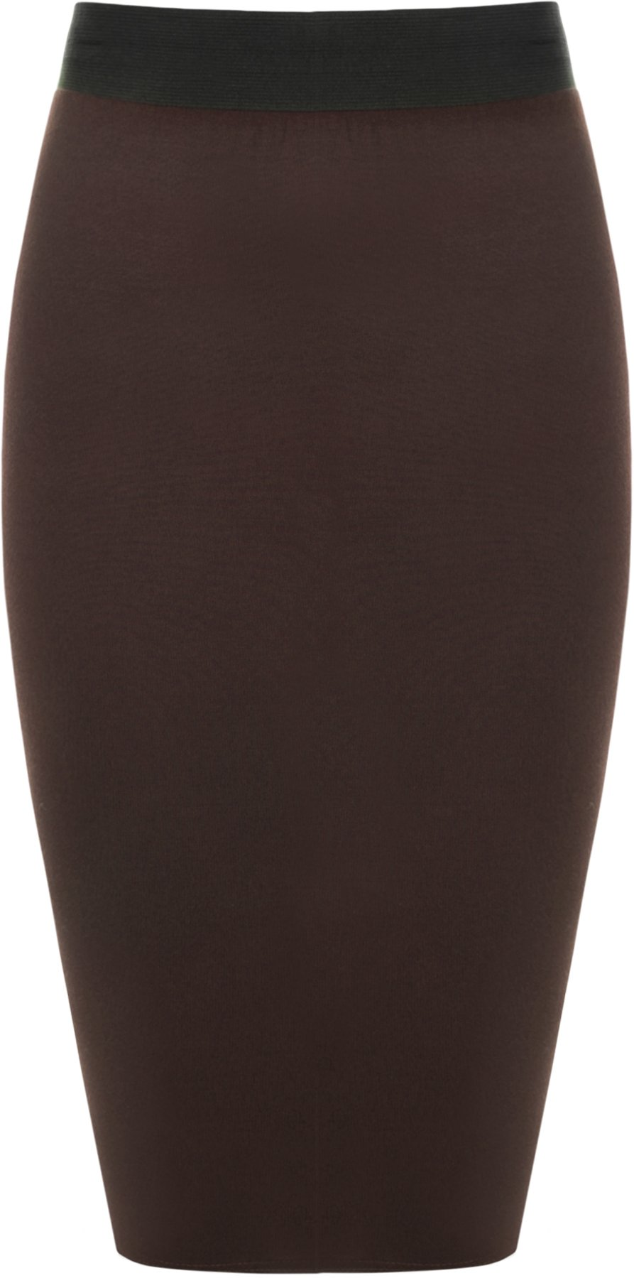 WearAll Plus Size Women's Knee Length Elasticated Skirt - Brown - 12-14