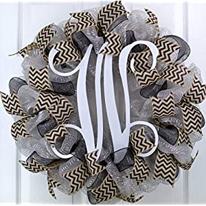 Silver and Black Vine Monogram Letter Initial Mesh Outdoor Front Door Wreath - LOTS OF COLORS 99