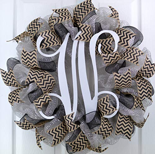 Silver and Black Vine Monogram Letter Initial Mesh Outdoor Front Door Wreath - LOTS OF COLORS