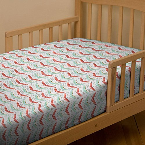 Carousel Designs Coral and Teal Chevron Toddler Bed Sheet Fitted (Teal Chevron Toddler Bedding)