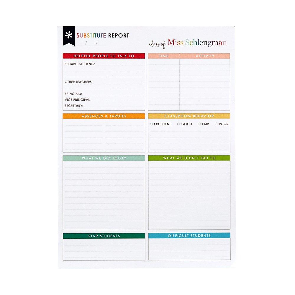 Amazon.com : Erin Condren Substitute Teacher Notepad - 25 Sheets ...