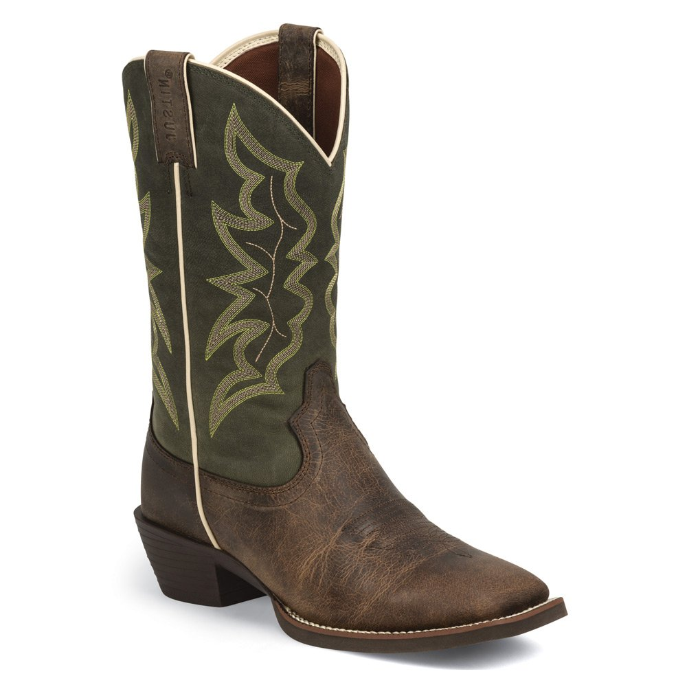 2c370274866 Amazon.com: Justin Mens Stampede Square Toe Green Boots: Sports ...