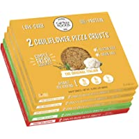 Cali'flour Foods Gluten Free, Low Carb Cauliflower Pizza Crusts - 6 Original Italian Crusts, 2 Sweet Red Pepper Crusts, and 2 Spicy Jalapeno Crusts - 5 Boxes (10 Total Crusts, 2 Per Box)