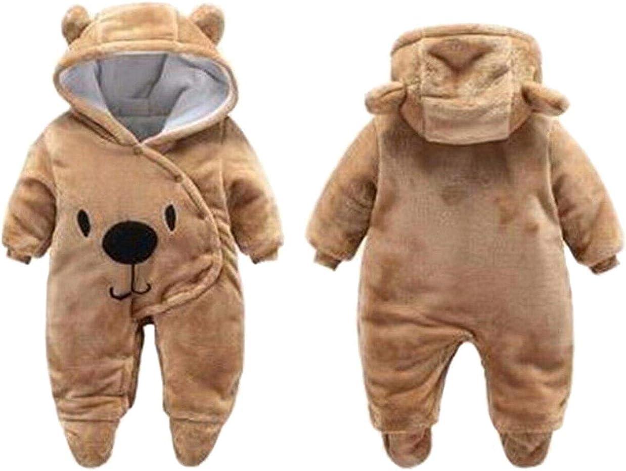 Newborn Baby 3D Cartoon Bear Hooded Thick Windproof Romper Jumpsuit Warm Footies