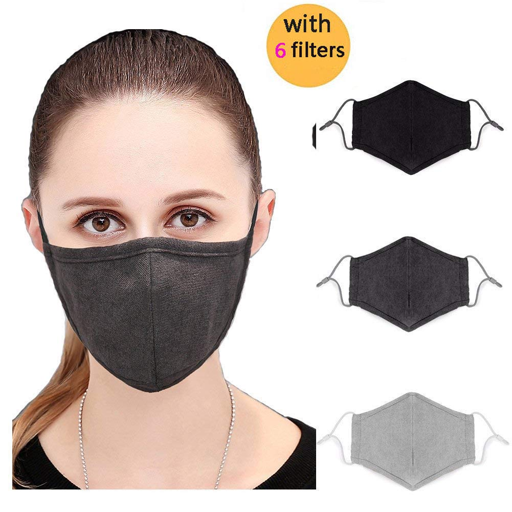 3Pcs Adult N95 Respirator Mask Black Gray Cotton Face Mask - Flu Mask, Dust Mask, Allergy Mask - Comfortable, Reusable - Protection from Dust, Pollen, Allergens, & Flu Germs breathemaskfactory