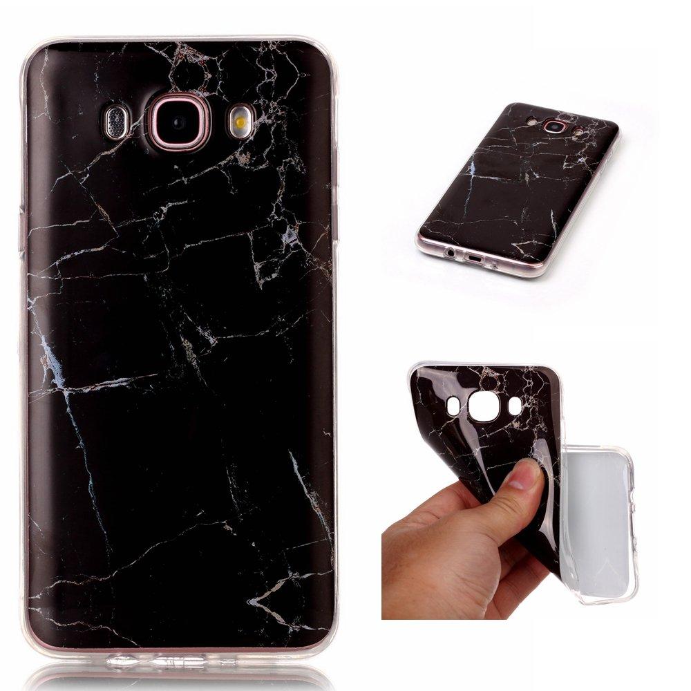 j7ケース、Galaxy j7ケース( 2016バージョン)、KMISS [大理石パターン]ソフトゴムシリコンスキンケースカバーfor Samsung Galaxy j7 B075JKRK2N ブラック ブラック