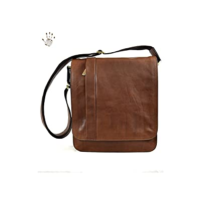 Dream Leather Bags Made in Italy Genuine Leather Vegetable Tanned Leather Crossbody Man Bag Color Brown