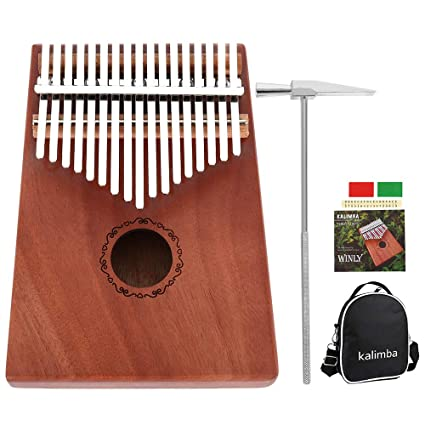 Kalimba - Piano de pulgar con 17 teclas y martillo de afinación y accesorios ideales para