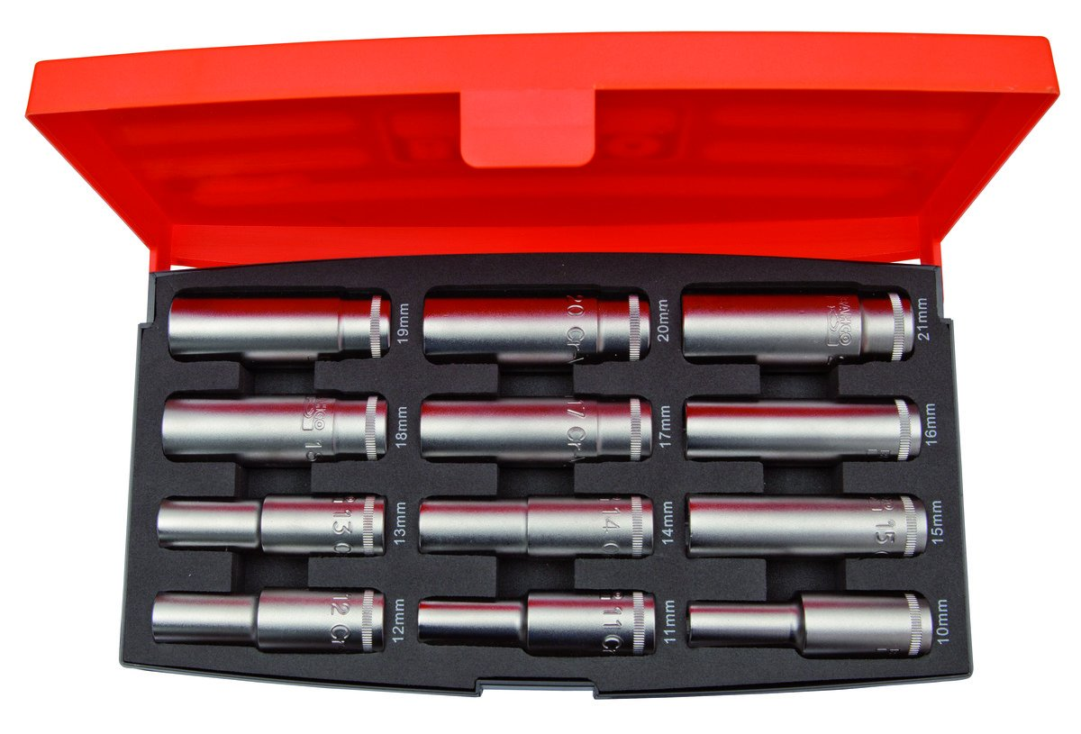 Orange//Black Bahco S1612L Deep Socket Set 1//2 Inch Drive 12 Pieces