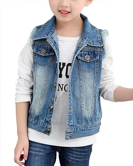 CYSTYLE Neue Damen Jeansweste Denim Weste Jacke /Ärmellos Einfache Beil/äufige Jeansweste Top Outwear mit Loch Design