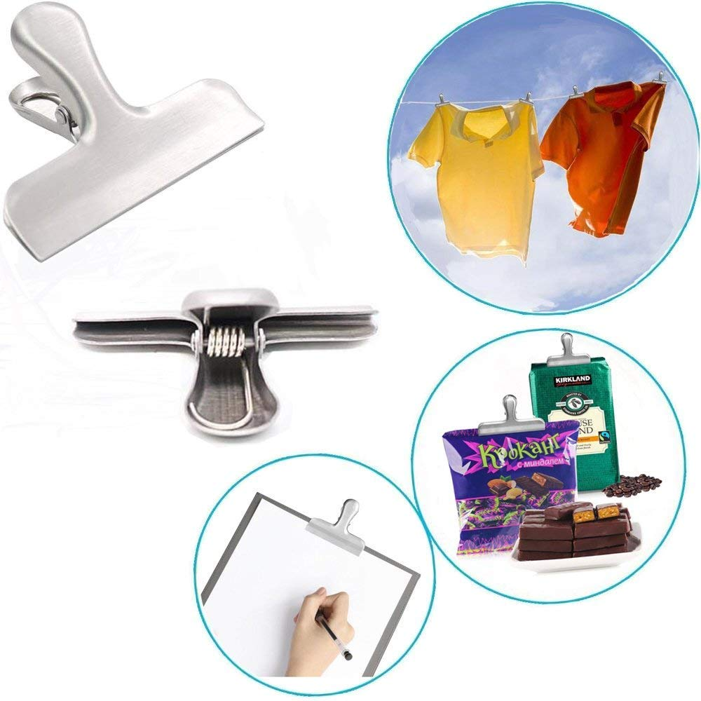 All-Purpose Air Tight Seal Grip for Kitchen Office Peritum Set of 12 Durable Stainless Steel Chip Bag Clips with Reusable Storage Container 3-Inch Wide Heavy Duty Home Usage