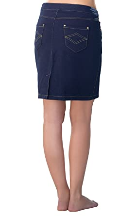 8830740f99 PajamaJeans Women's Stretch Knit Denim Skirt in Dark Blue, Indigo, X-Small /